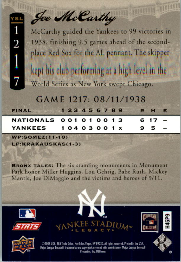 2008 Upper Deck Yankee Stadium Legacy Collection #1217 Joe McCarthy back image