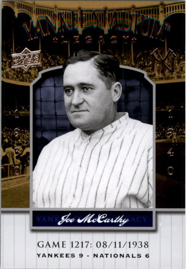 2008 Upper Deck Yankee Stadium Legacy Collection #1217 Joe McCarthy