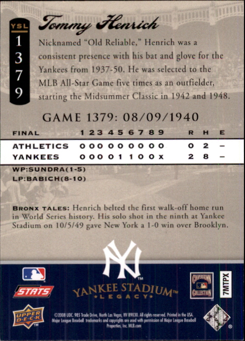 2008 Upper Deck Yankee Stadium Legacy Collection #1379 Tommy Henrich back image