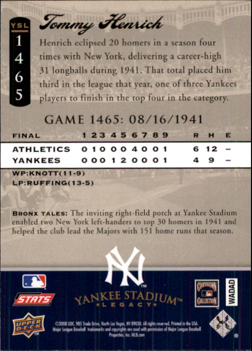 2008 Upper Deck Yankee Stadium Legacy Collection #1465 Tommy Henrich back image