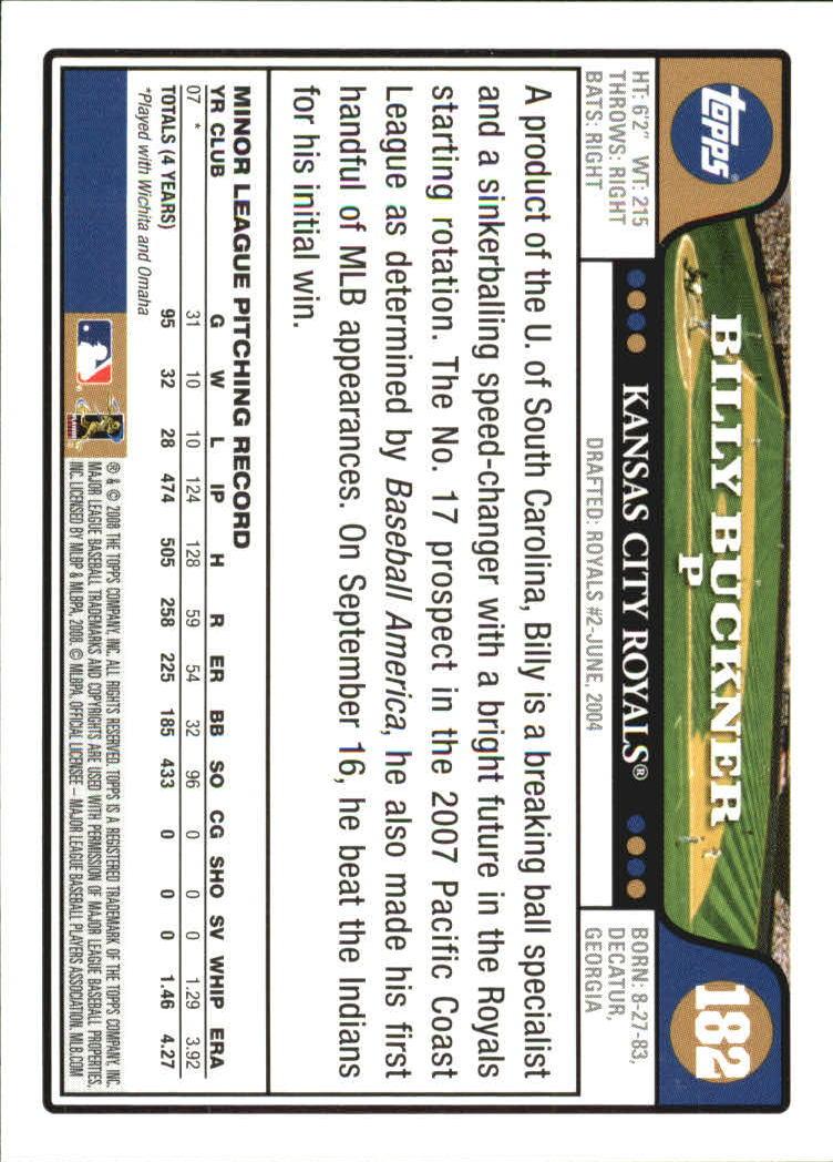2008 Topps #182 Billy Buckner (RC) back image