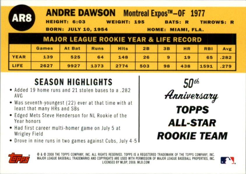 2008 Topps 50th Anniversary All Rookie Team #AR8 Andre Dawson back image
