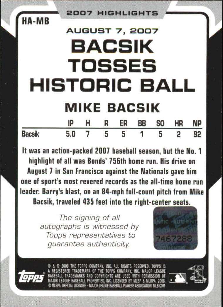 2008 Topps Highlights Autographs #MB Mike Bacsik F back image