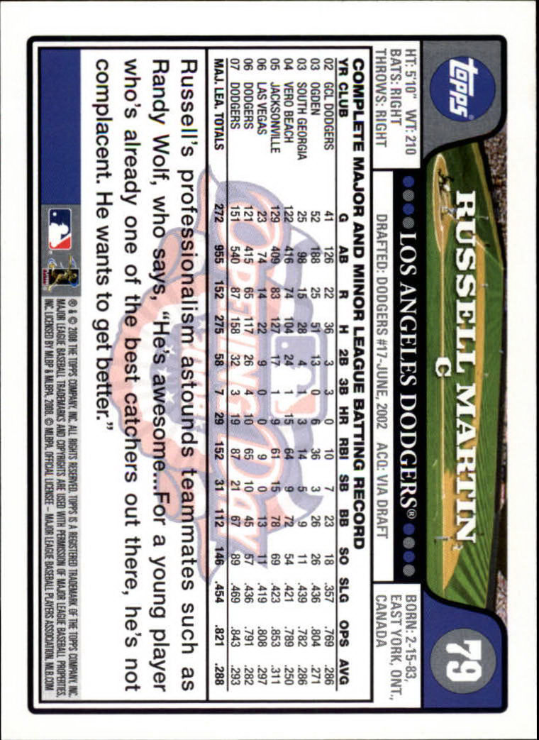 2008 Topps Opening Day #79 Russell Martin back image