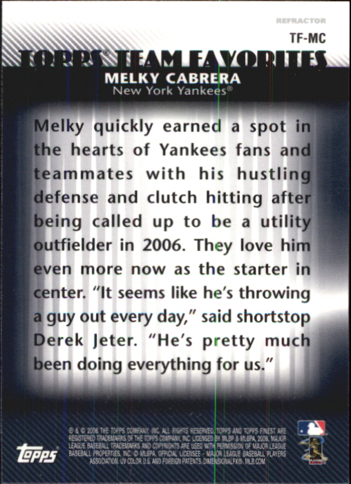 2008 Finest Topps Team Favorites Autographs #MC Melky Cabrera back image