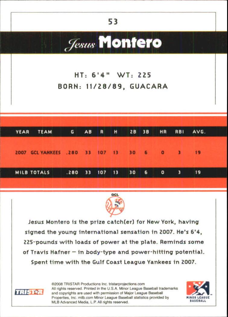 2008 TRISTAR PROjections #53 Jesus Montero PD back image