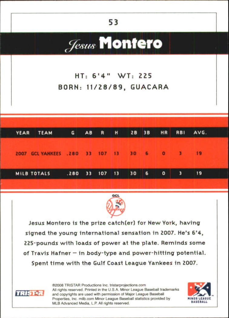2008 TRISTAR PROjections Reflectives #53 Jesus Montero back image
