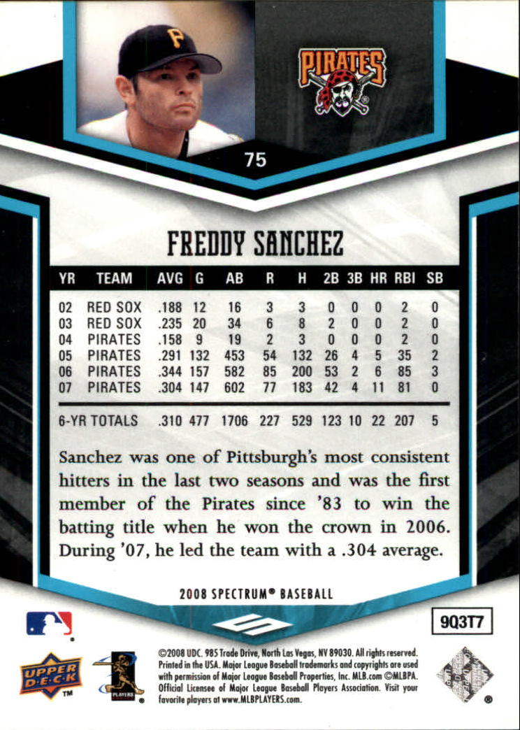 2008 Upper Deck Spectrum #75 Freddy Sanchez back image