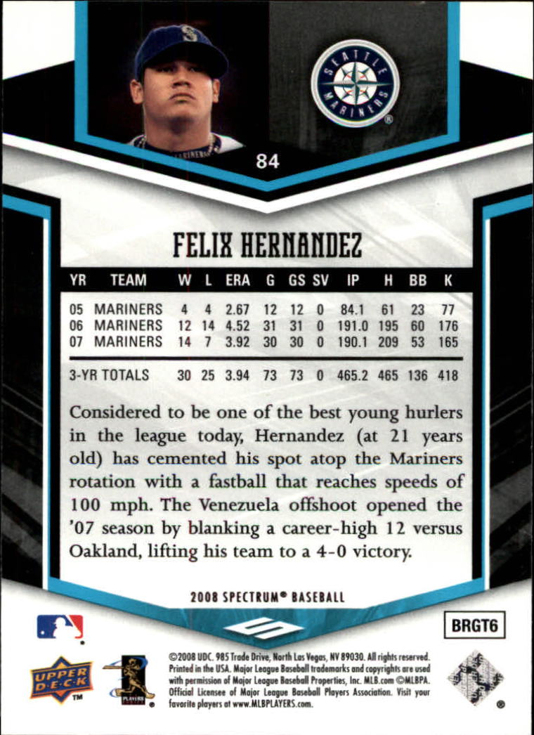 2008 Upper Deck Spectrum #84 Felix Hernandez back image
