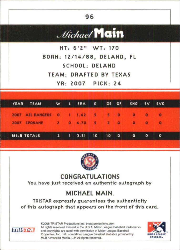 2008 TRISTAR PROjections Autographs #96 Michael Main back image
