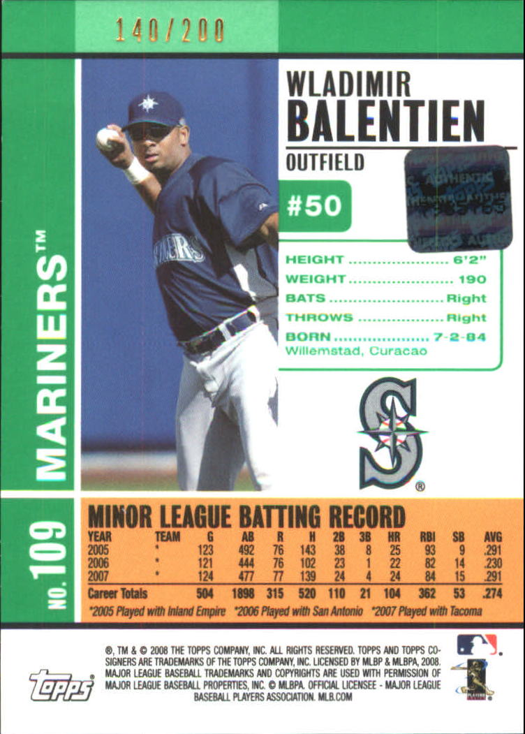 2008 Topps Co-Signers Silver Green #109 Wladimir Balentien AU back image