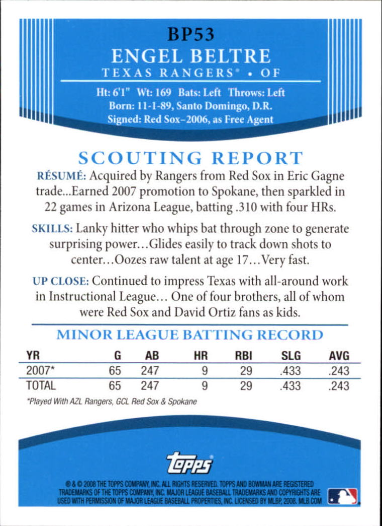 2008 Bowman Prospects #BP53 Engel Beltre back image