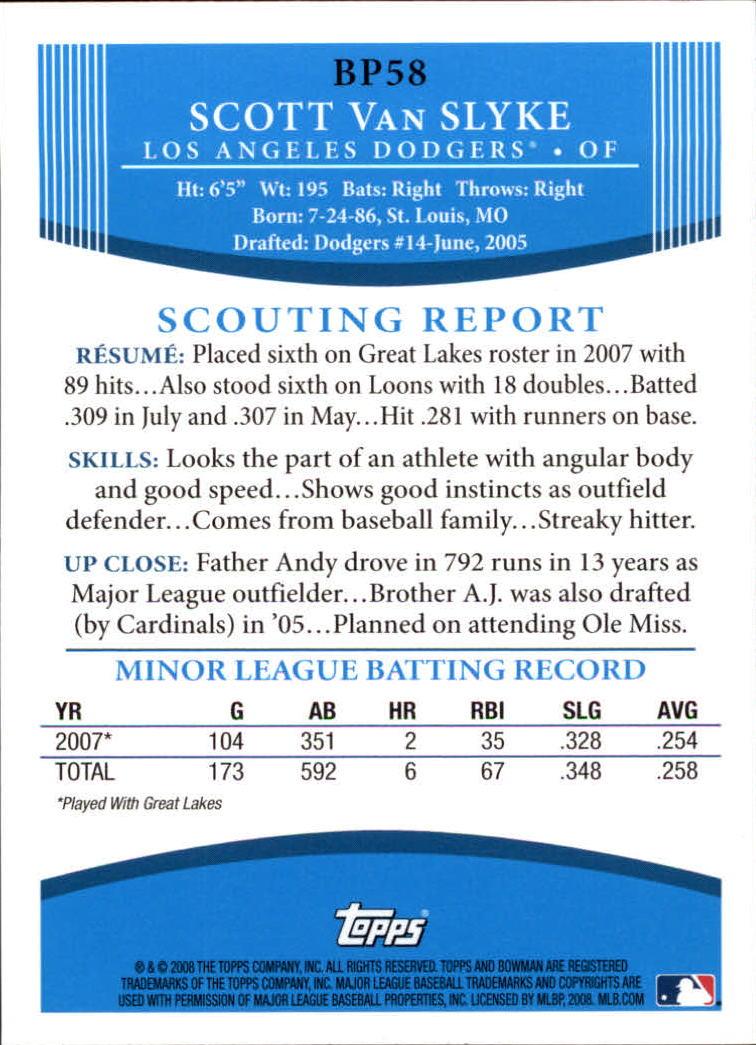2008 Bowman Prospects #BP58 Scott Van Slyke back image