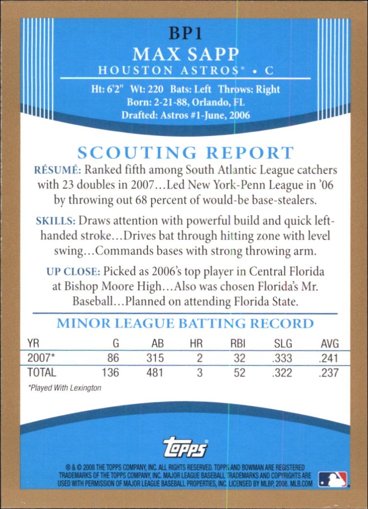 2008 Bowman Prospects Gold #BP1 Max Sapp back image