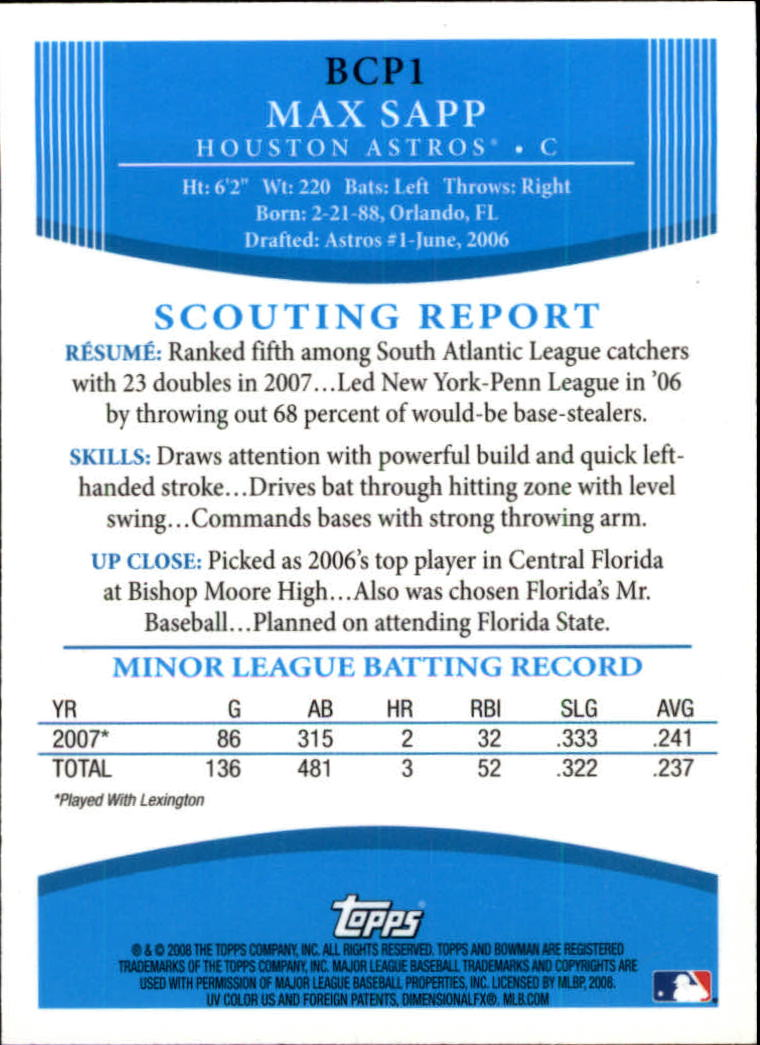 2008 Bowman Chrome Prospects #BCP1 Max Sapp back image