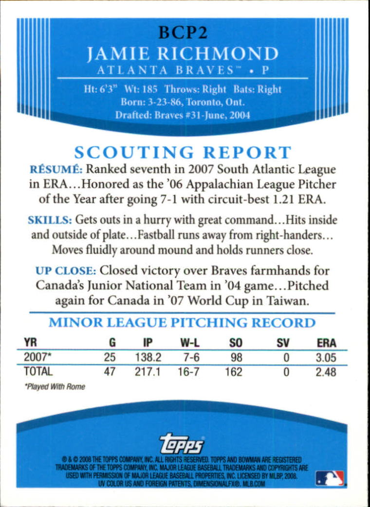 2008 Bowman Chrome Prospects #BCP2 Jamie Richmond back image