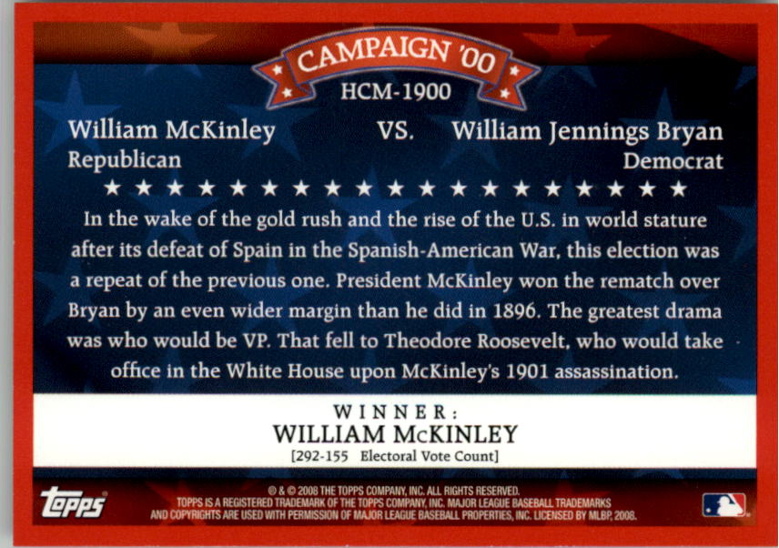 2008 Topps Historical Campaign Match-Ups #1900 William McKinley/William Jennings Bryan back image