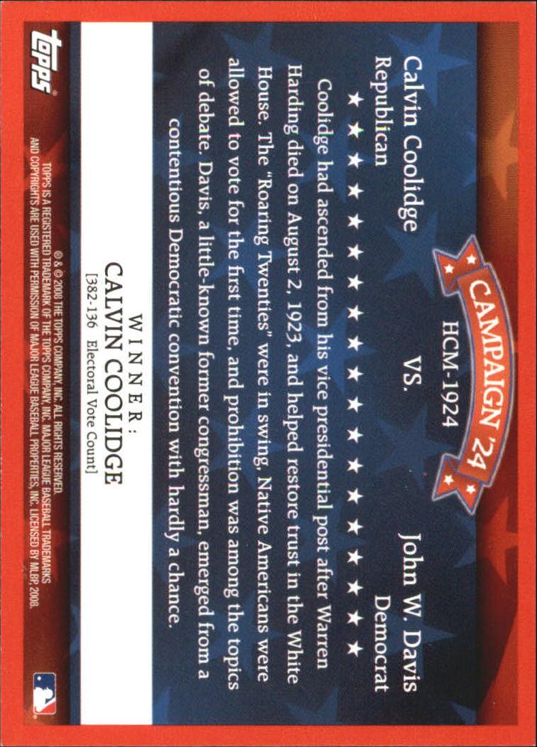 2008 Topps Historical Campaign Match-Ups #1924 Calvin Coolidge/John W. Davis back image