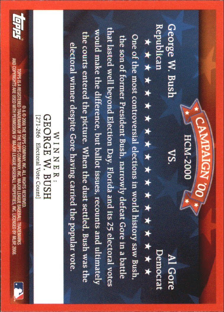 2008 Topps Historical Campaign Match-Ups #2000 George W. Bush/Al Gore back image