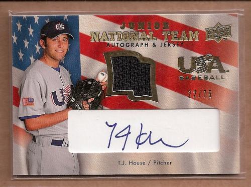 2008 Upper Deck USA Junior National Team Jerseys Autographs Blue #TH T.J. House/75