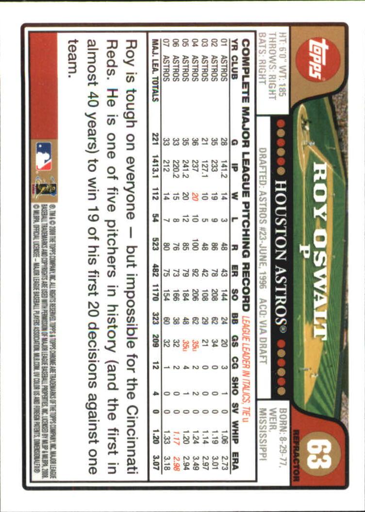2008 Topps Chrome Refractors #63 Roy Oswalt back image
