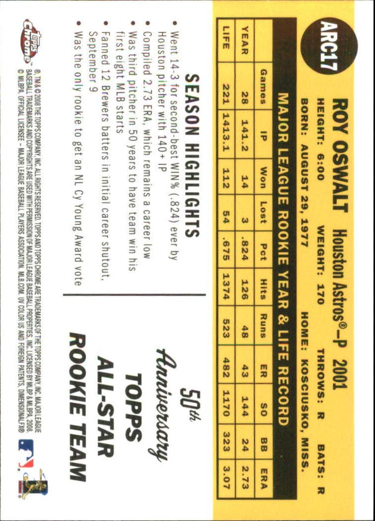 2008 Topps Chrome 50th Anniversary All Rookie Team #ARC17 Roy Oswalt back image