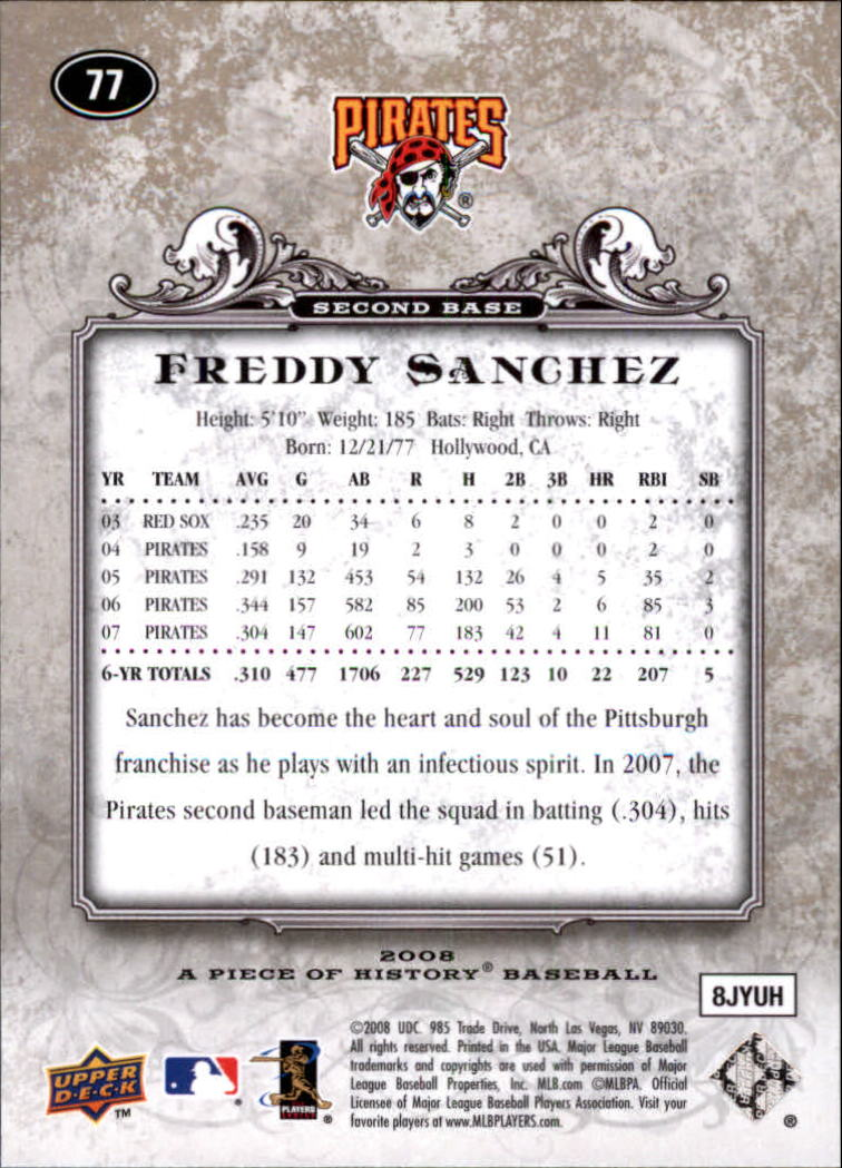 2008 UD A Piece of History #77 Freddy Sanchez back image