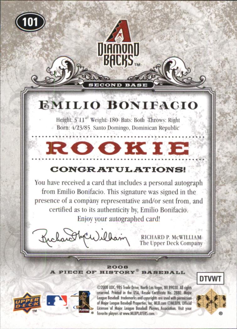 2008 UD A Piece of History Rookie Autographs #101 Emilio Bonifacio/499 back image