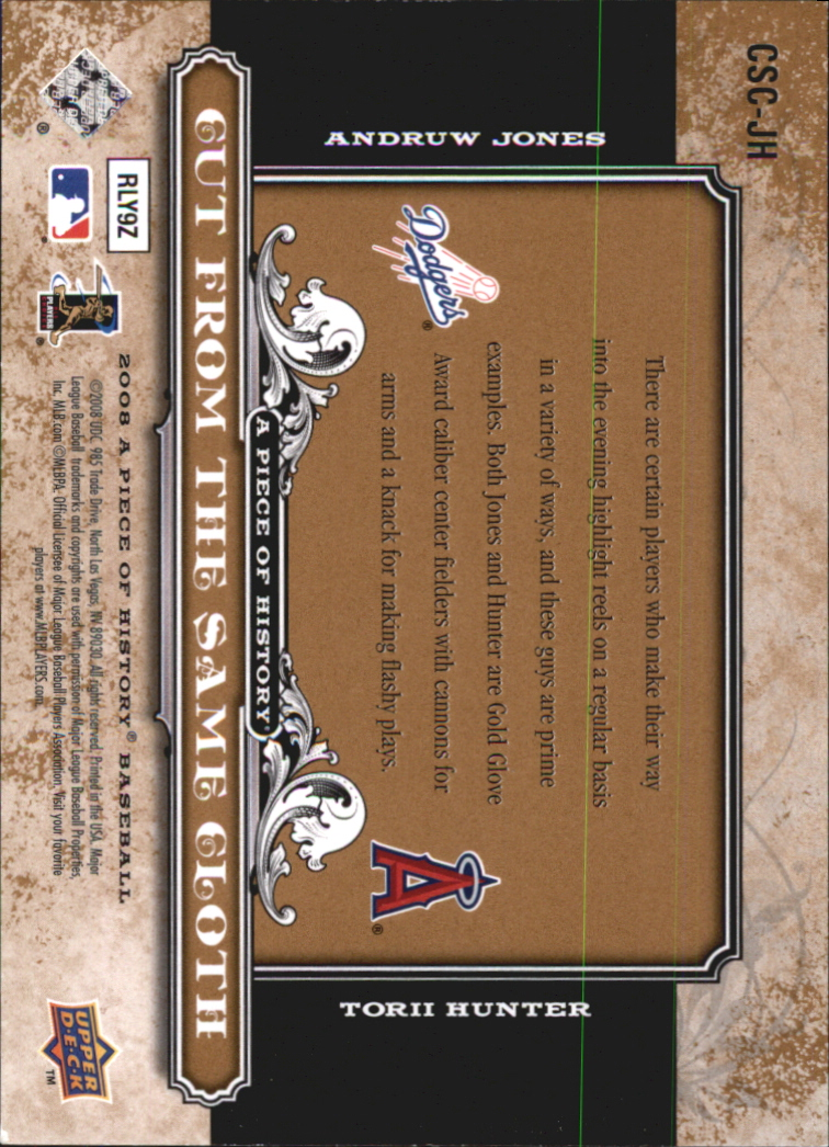 2008 UD A Piece of History Cut From the Same Cloth #JH Andruw Jones/Torii Hunter back image
