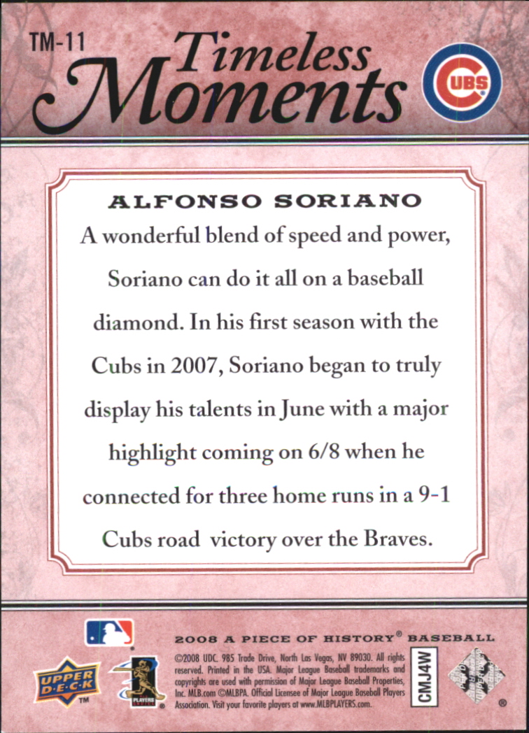 2008 UD A Piece of History Timeless Moments Red #11 Alfonso Soriano back image