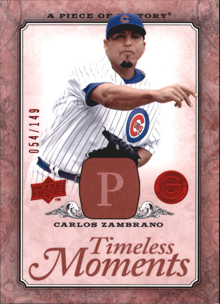2008 UD A Piece of History Timeless Moments Red #12 Carlos Zambrano