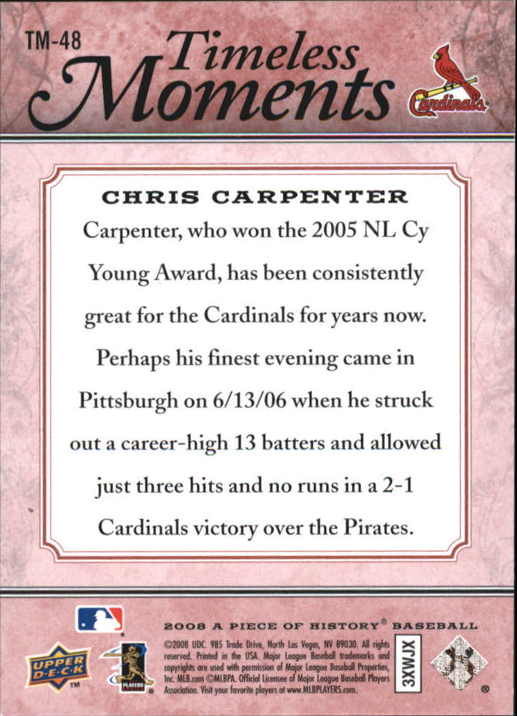 2008 UD A Piece of History Timeless Moments Red #48 Chris Carpenter back image