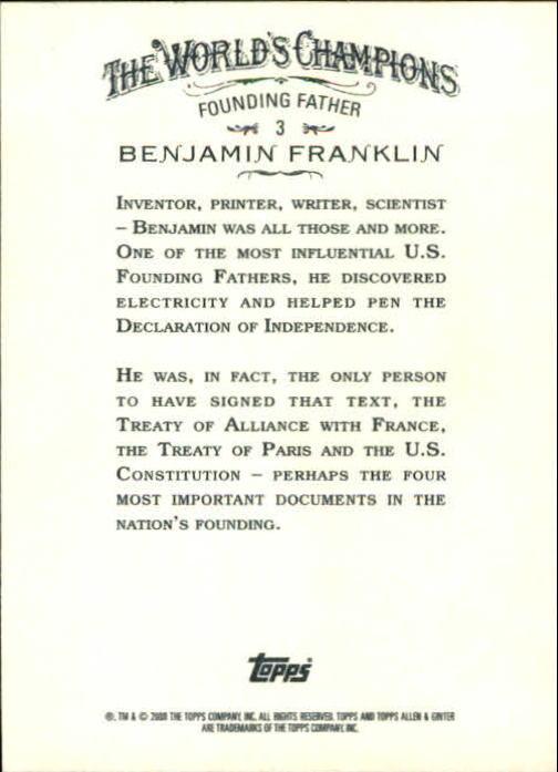 2008 Topps Allen and Ginter #3 Benjamin Franklin back image