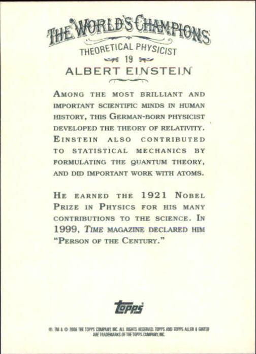 2008 Topps Allen and Ginter #19 Albert Einstein back image