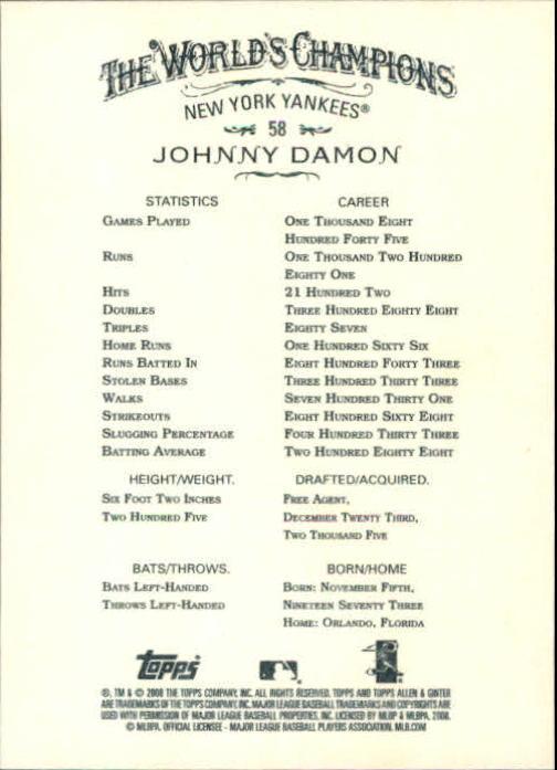 2008 Topps Allen and Ginter #58 Johnny Damon back image