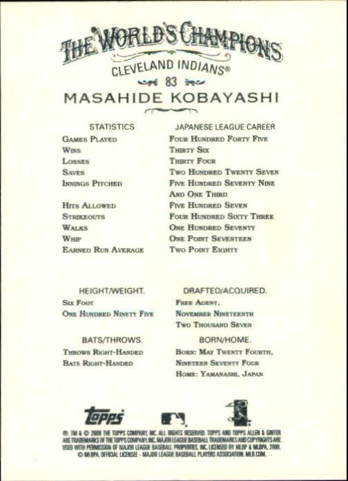 2008 Topps Allen and Ginter #83 Masahide Kobayashi RC back image