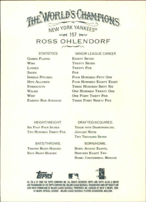 2008 Topps Allen and Ginter #157 Ross Ohlendorf RC back image