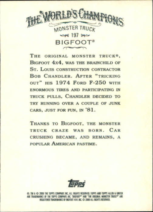 2008 Topps Allen and Ginter #197 Bigfoot back image