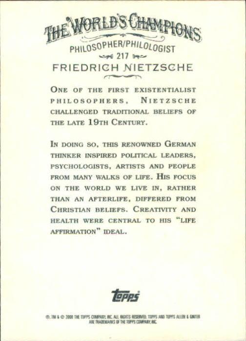 2008 Topps Allen and Ginter #217 Friedrich Nietzsche back image