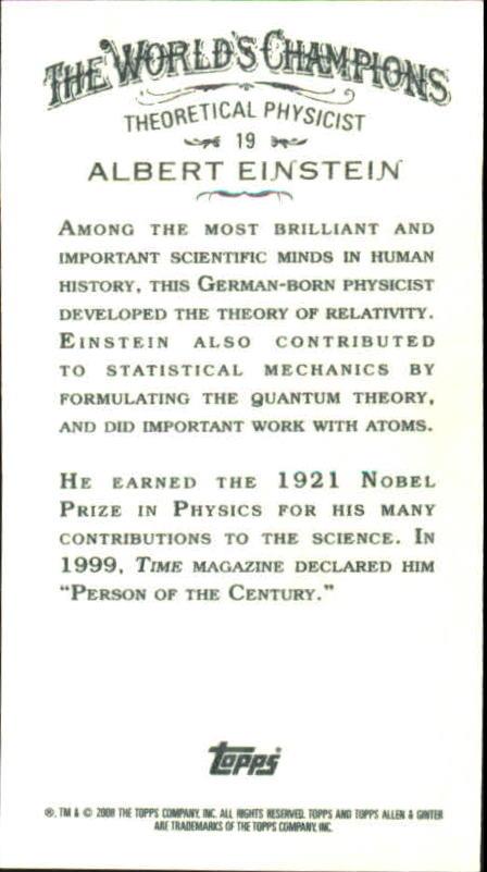 2008 Topps Allen and Ginter Mini #19 Albert Einstein back image
