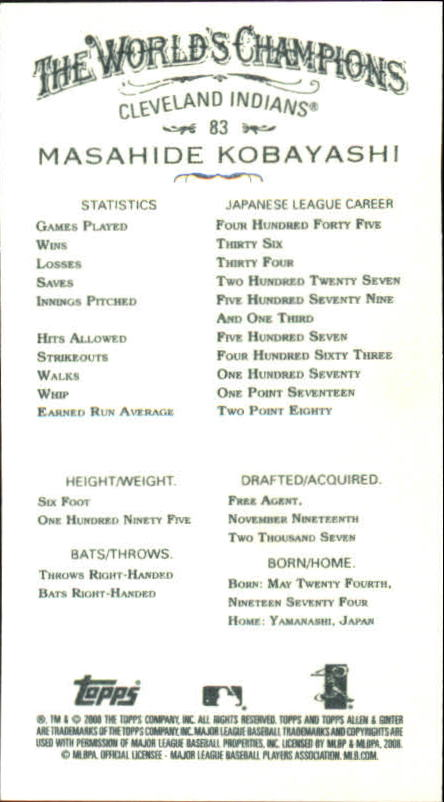 2008 Topps Allen and Ginter Mini Black #83 Masahide Kobayashi back image
