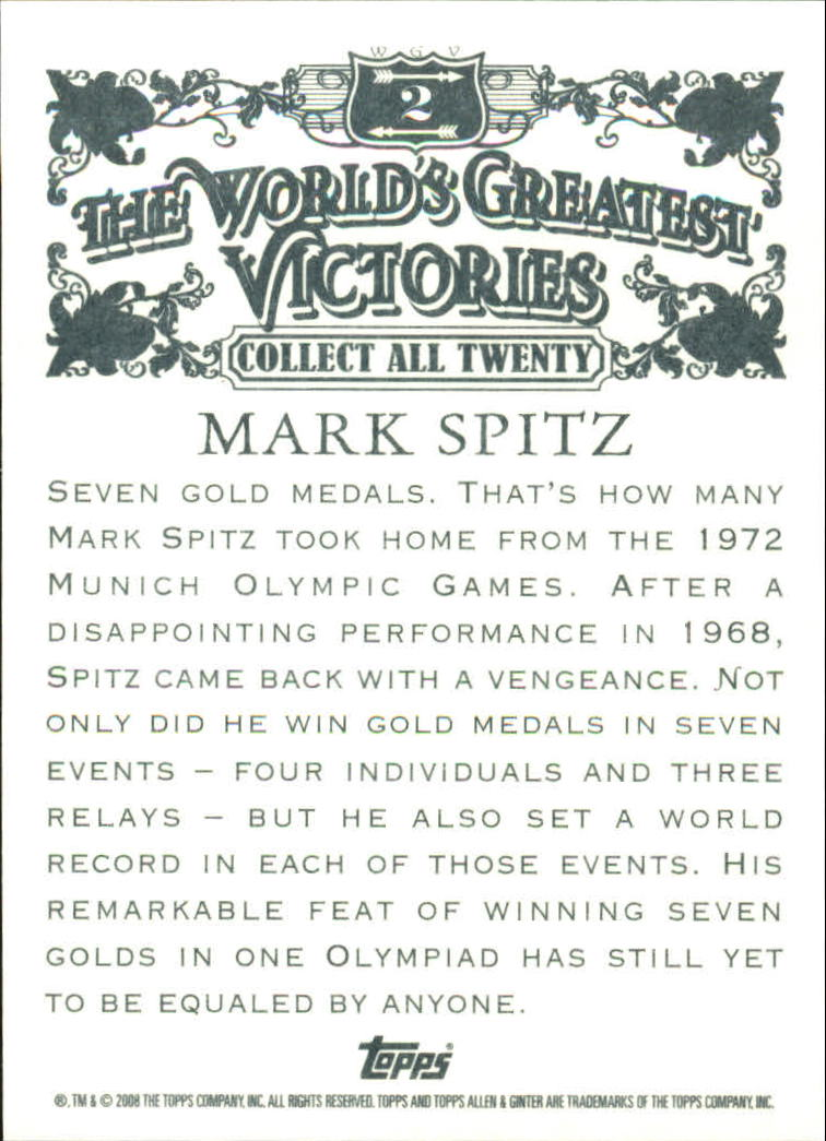 2008 Topps Allen and Ginter World's Greatest Victories #WGV2 Mark Spitz back image