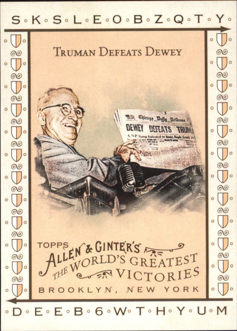2008 Topps Allen and Ginter World's Greatest Victories #WGV13 Truman Defeats Dewey