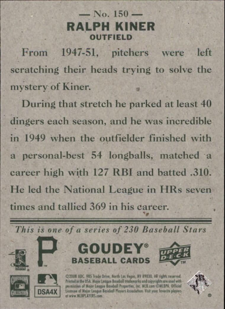 2008 Upper Deck Goudey #150 Ralph Kiner back image