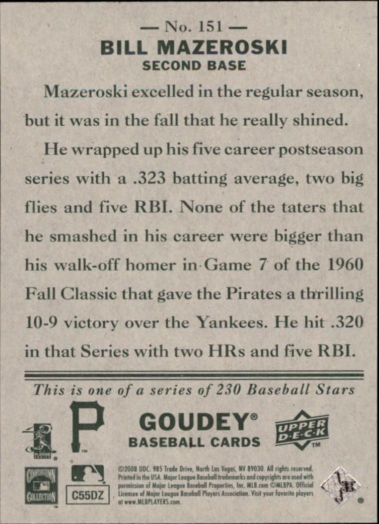 2008 Upper Deck Goudey #151 Bill Mazeroski back image
