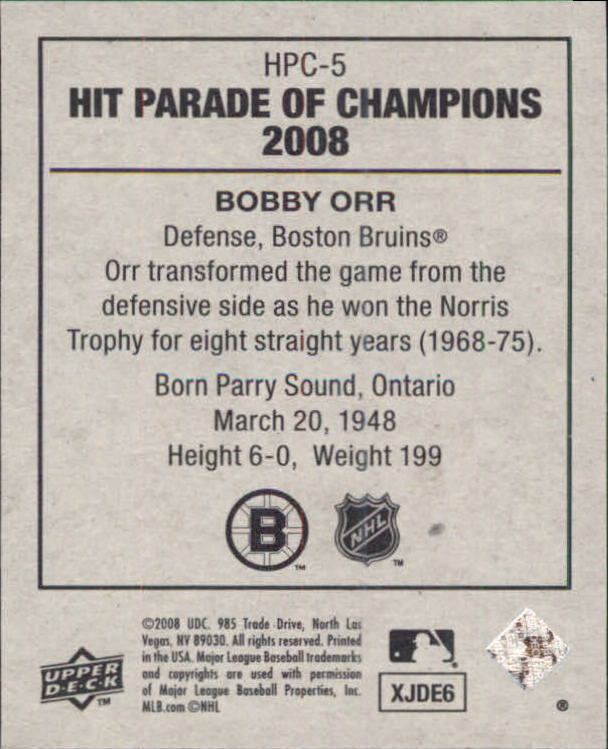 2008 Upper Deck Goudey Hit Parade of Champions #5 Bobby Orr back image