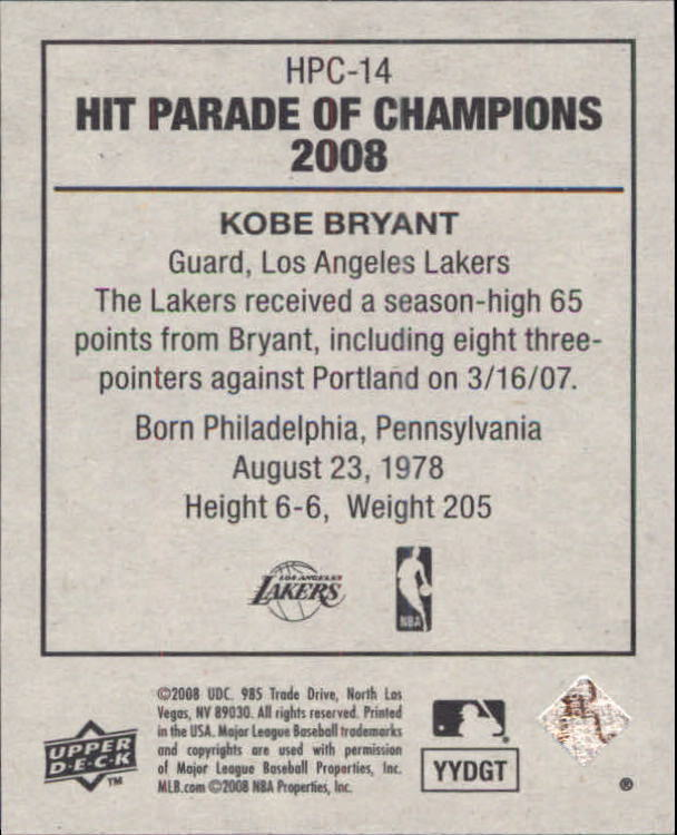 2008 Upper Deck Goudey Hit Parade of Champions #14 Kobe Bryant back image