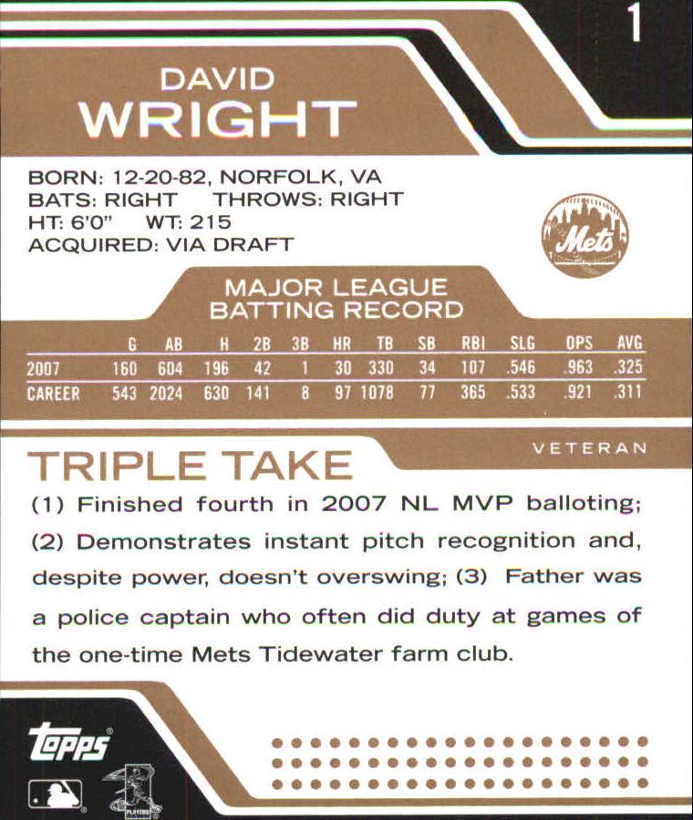 2008 Topps Triple Threads Sepia #1 David Wright back image