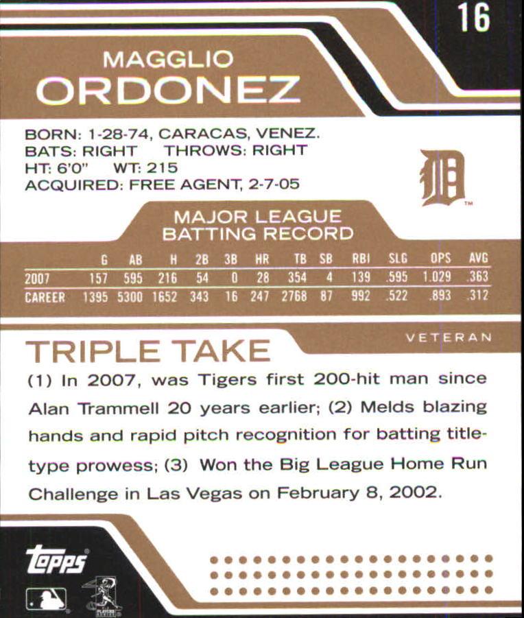 2008 Topps Triple Threads Sepia #16 Magglio Ordonez back image
