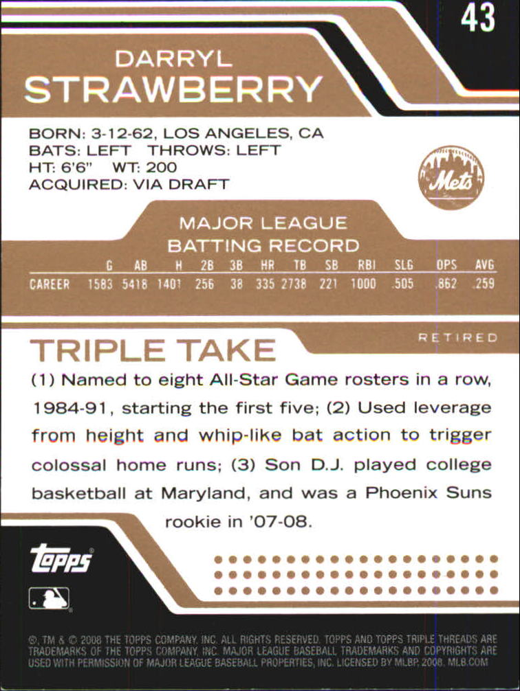2008 Topps Triple Threads Sepia #43 Darryl Strawberry back image